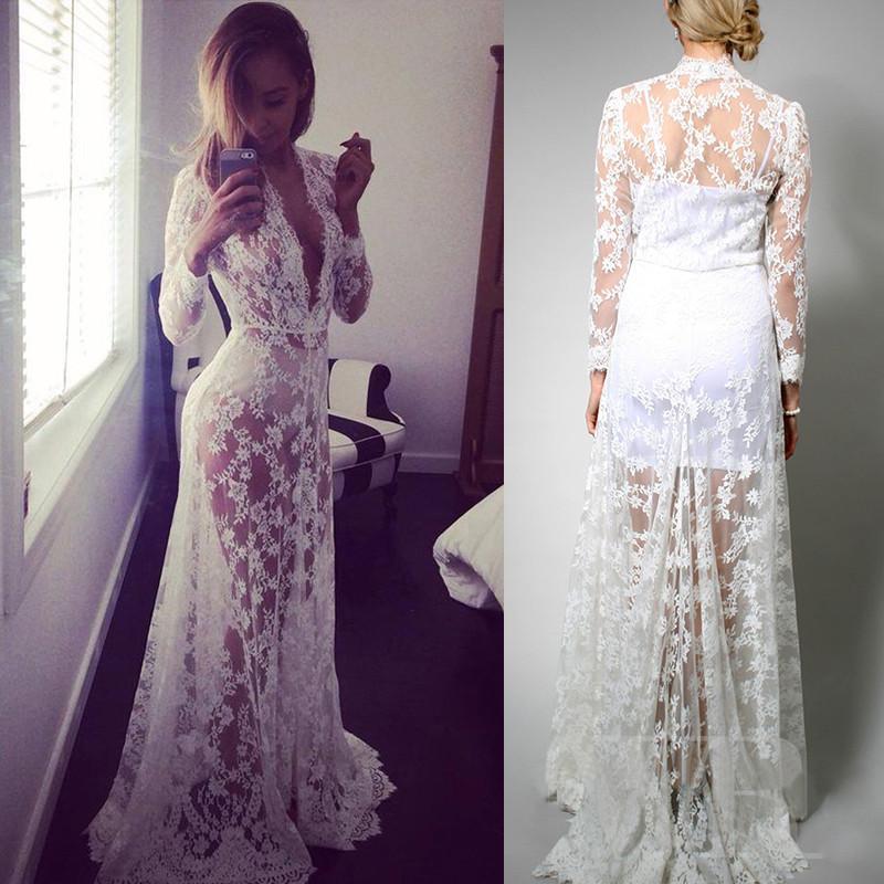 -Hippie-Gypsy-Boho-White-Lace-Caftan-V-neck-Long-Sleeve-Maxi-Wedding ...