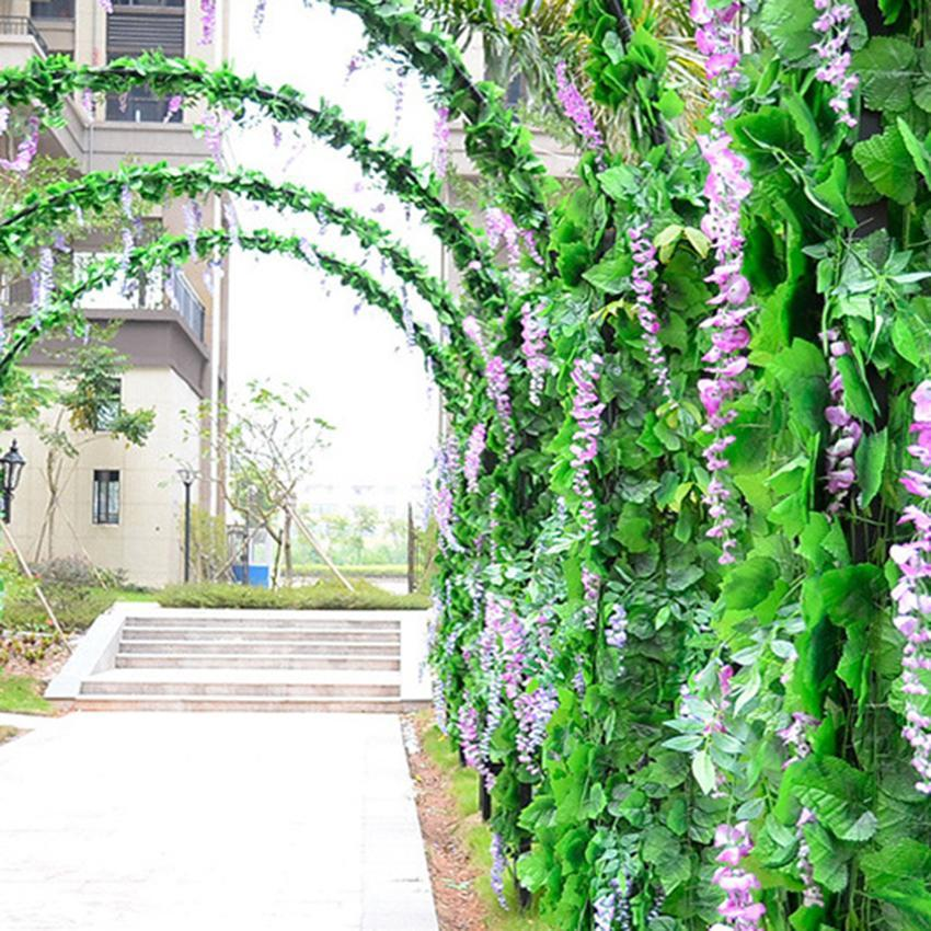 Artificial grape leaf garland plants vine fake foliage for Artificial grape vines decoration