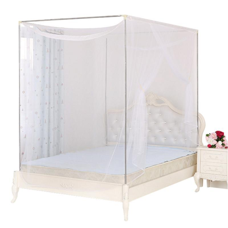 Square elegant lace insect canopy netting curtain bed for Rectangle bed canopy