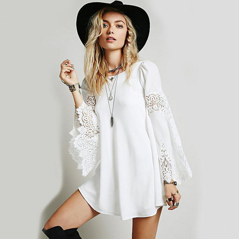 2015 Women Lace Bohemian Beach Dress Lady Casual bell ...