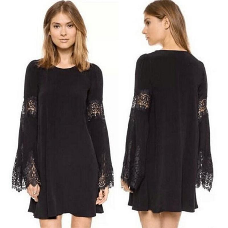 2015 Women Lace Bohemian Beach Dress Lady bell sleeve Gyspy Long Tops SHIRT S-XL