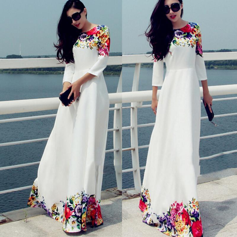 Sexy Women Summer Boho Long Maxi Evening Party Dress Beach Chiffon Dresses S-XL