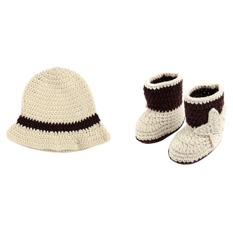 Knitting Pattern Cowboy Hat : Baby Boys Girls Cowboy Hat&Boots Set Crochet Knitted Photo Photography Pr...
