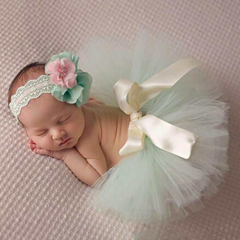 Newborn Toddler Baby Girl Tutu Skirt u0026 Headband Flower Photo Prop Costume Outfit
