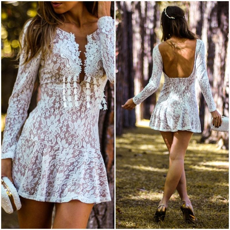 New Women Sexy Mini Lace Dress Evening Party Dress Cocktail Club Hippie SunDress
