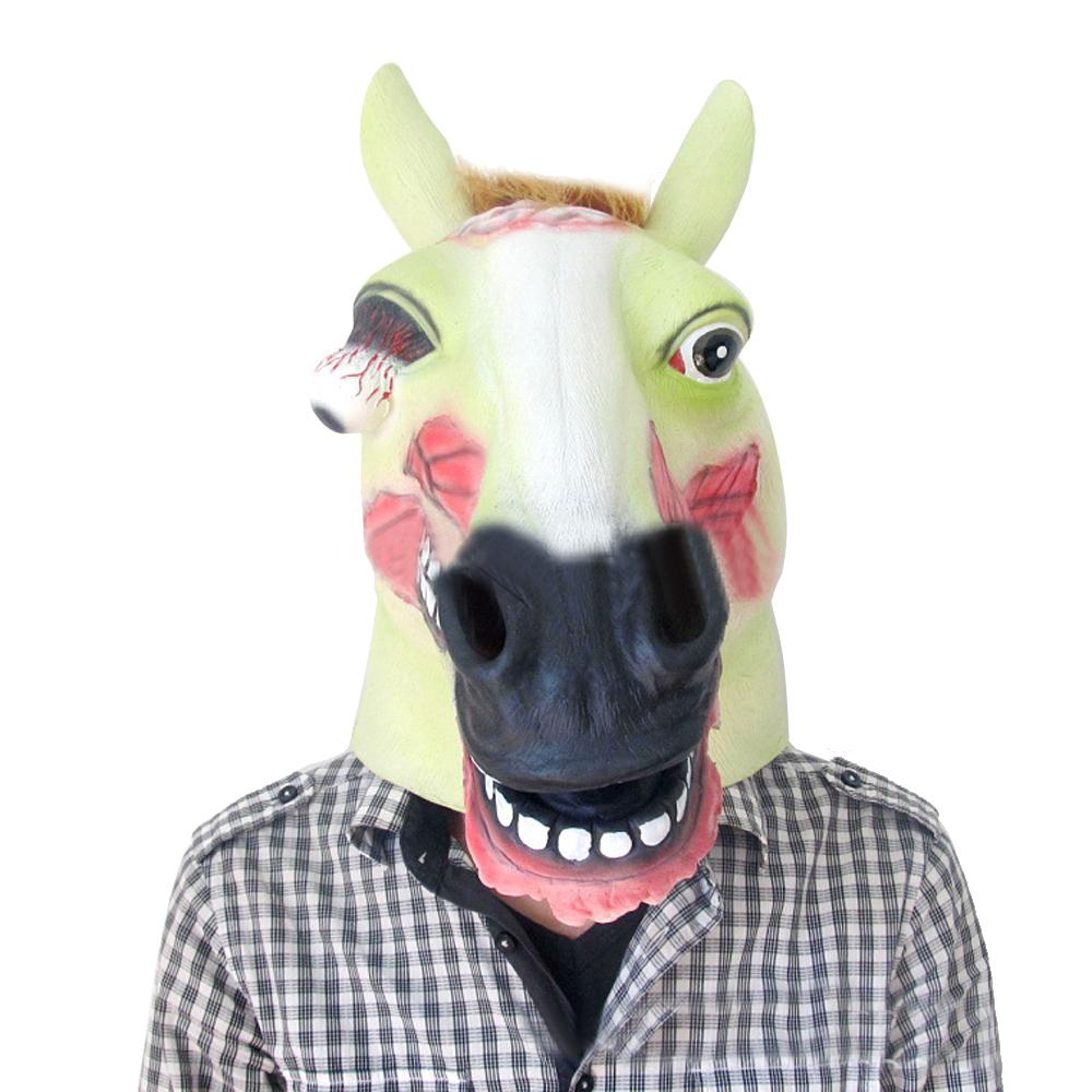 Horse Evil Animal Head Mask Creepy Halloween Costume Theater Prop ...