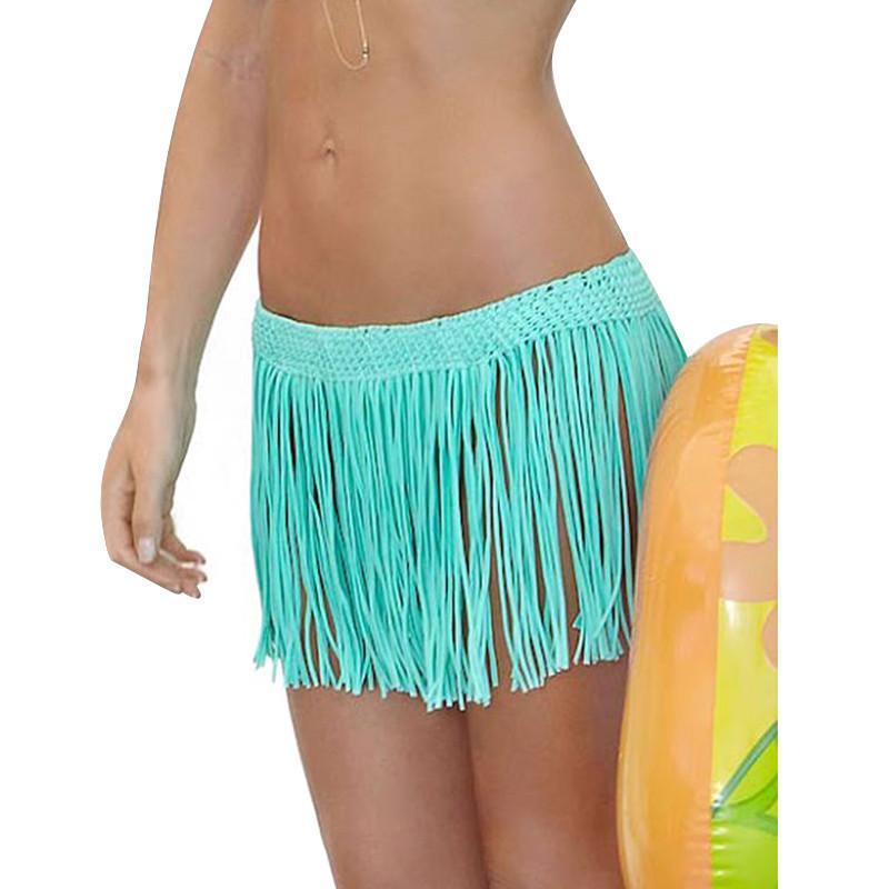 2016 Womens Bikini Tassel Swim Short Skirt Swimwear Cover ...