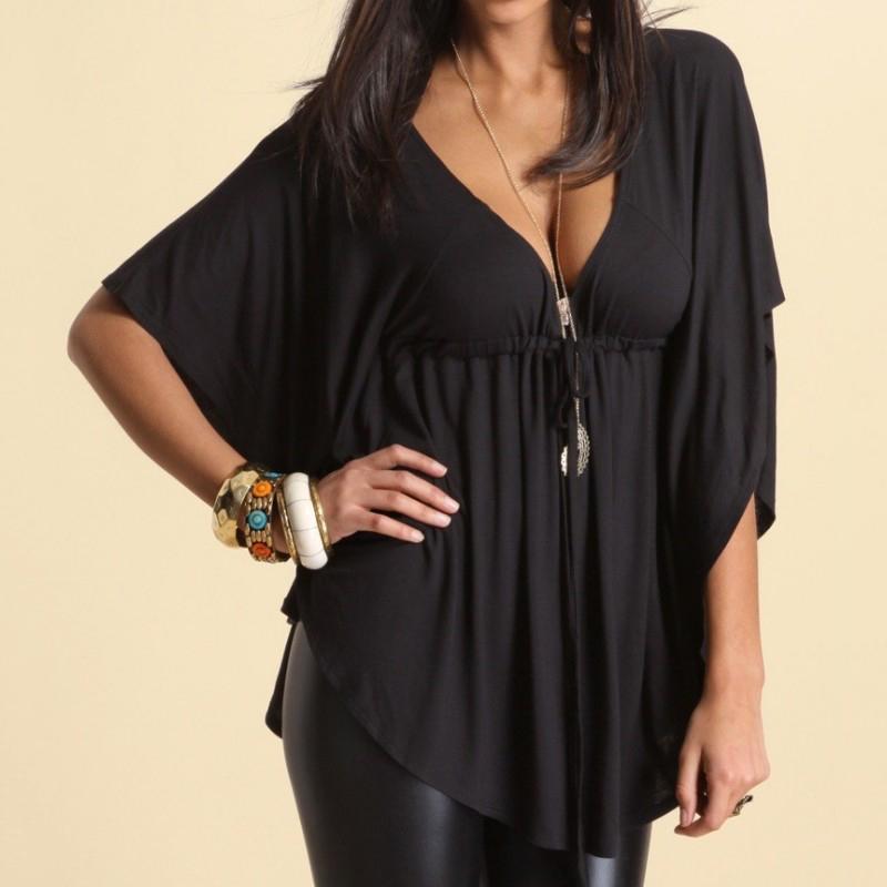 Womens Short Sleeve Black Fit Tops Ladies V Neck Turn Up
