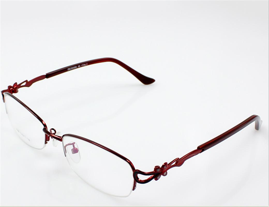 Fashion Eyeglasses Metal Frame Half RIM Optical Eyewear ...