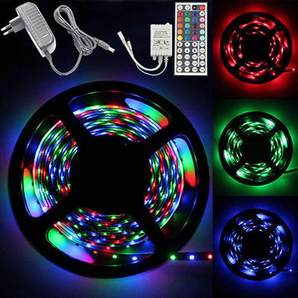 5m 10m 5050 3528 led strip lights rgb color tape complete kit remote control 12v ebay. Black Bedroom Furniture Sets. Home Design Ideas