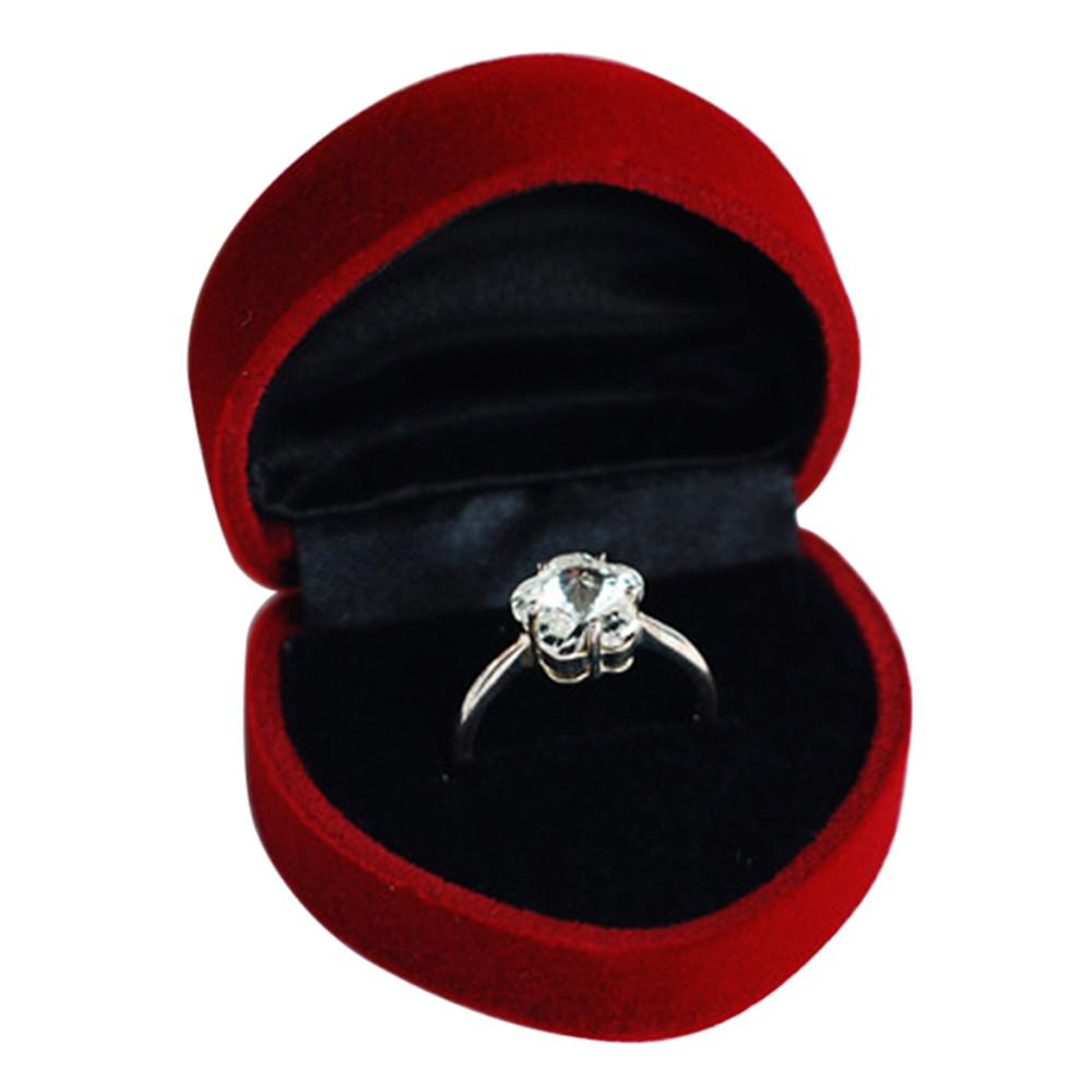 Sweet silver couple rings wedding band his and her promise for Heart ring box