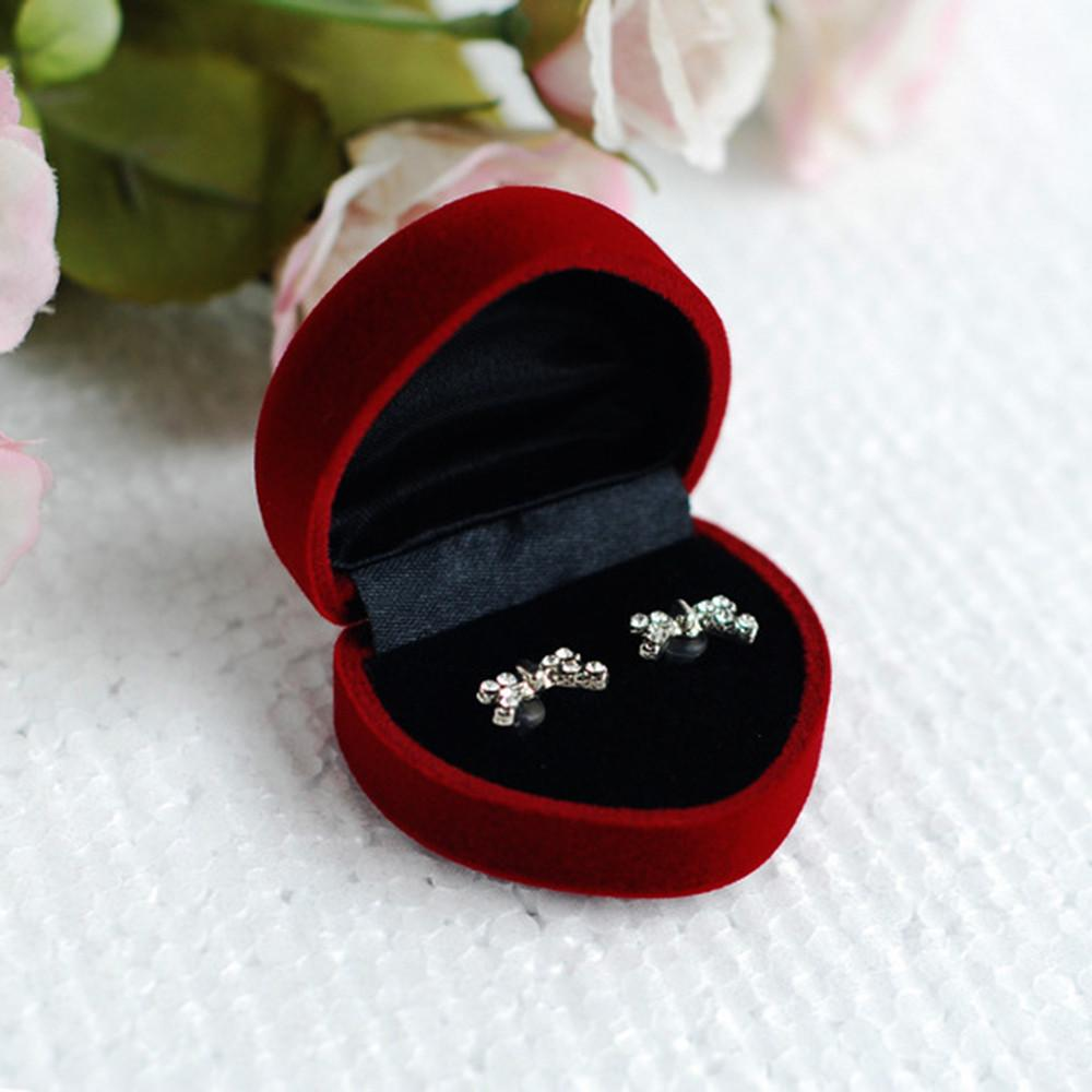 5pcs lot heart shaped lovers ring box case jewelry display for Heart ring box