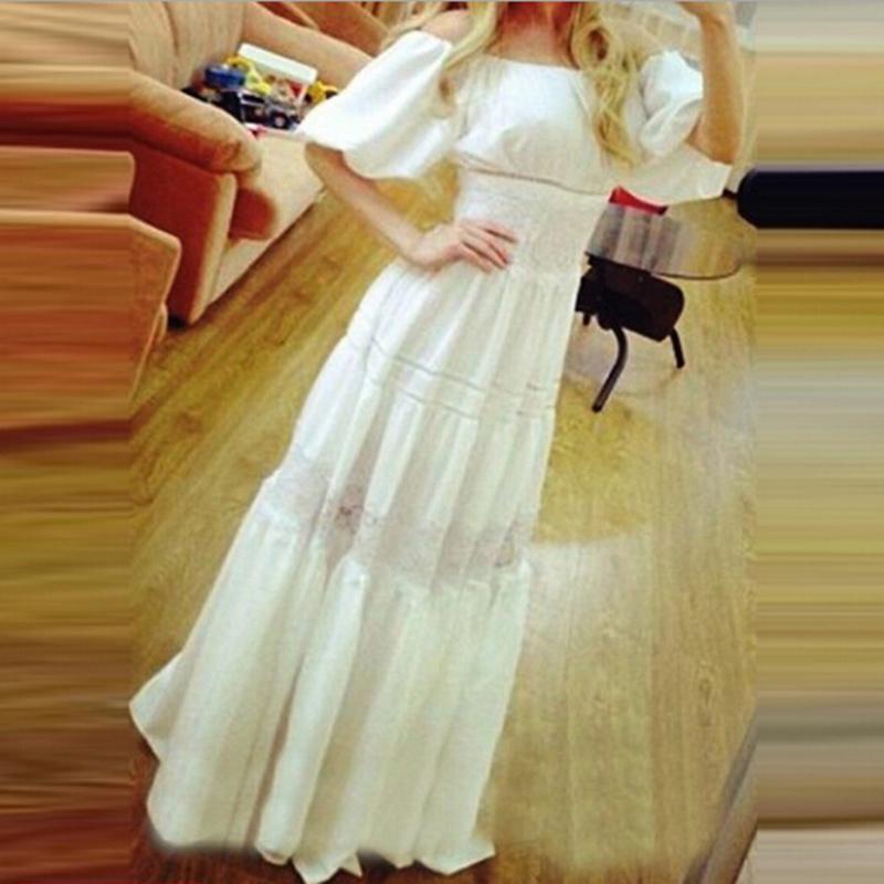 LONG SUN DRESS PEASANT BOHO NEW MAXI WHITE COTTON Lace FULL HIPPIE GYPSY S-XL