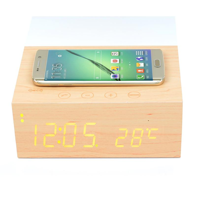 nfc qi wireless charging pad mat wooden bluetooth alarm clock speaker beige x5 ebay. Black Bedroom Furniture Sets. Home Design Ideas