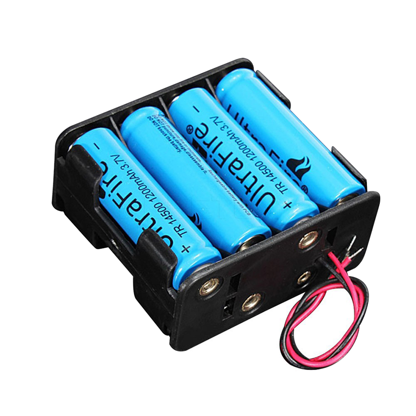 12V 8 X AA Battery Clip Slot Holder Stack Box Case Leads Wire ...