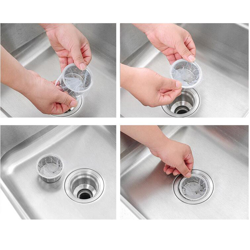 Disposable Sink Strainer Bags White Kitchen Waste Filter Impermeable Residue