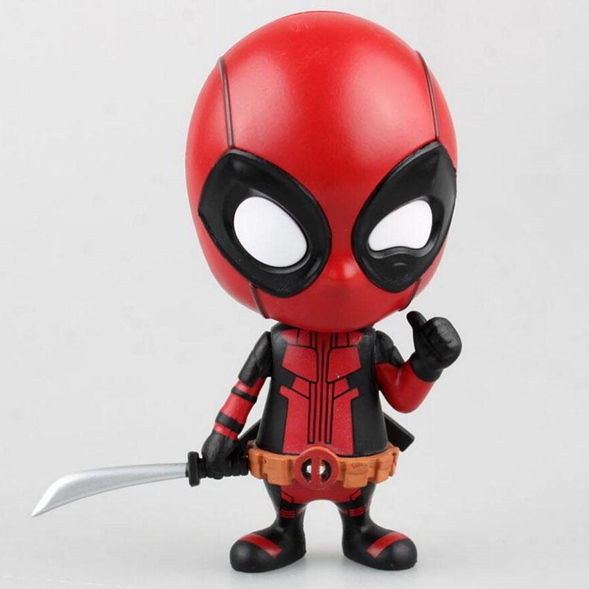 10cm Decoración Deadpool Bobble-head Shake Head Muñeca de PVC Figura De Acción Coleccionables