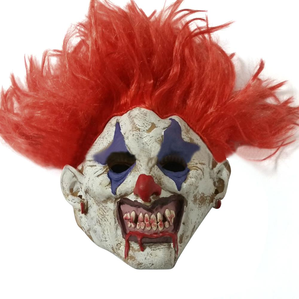 scary clown mask adult mens latex red hair halloween evil killer fancy dress ebay