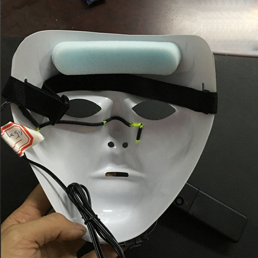 Halloween Scary luminous face EL Wire LED Mask Masquerade PVC Fancy ...