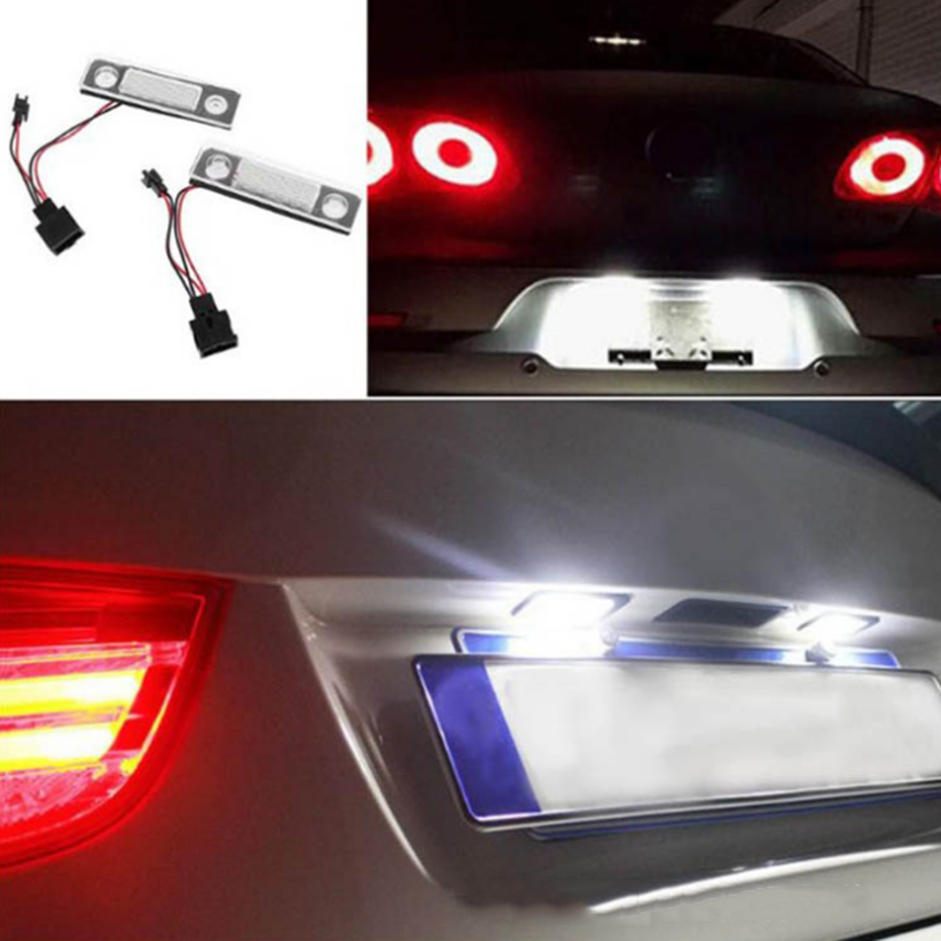 white LED License Plate Light White For Skoda Octavia 2 1Z//Roomster 5J 2006-2010