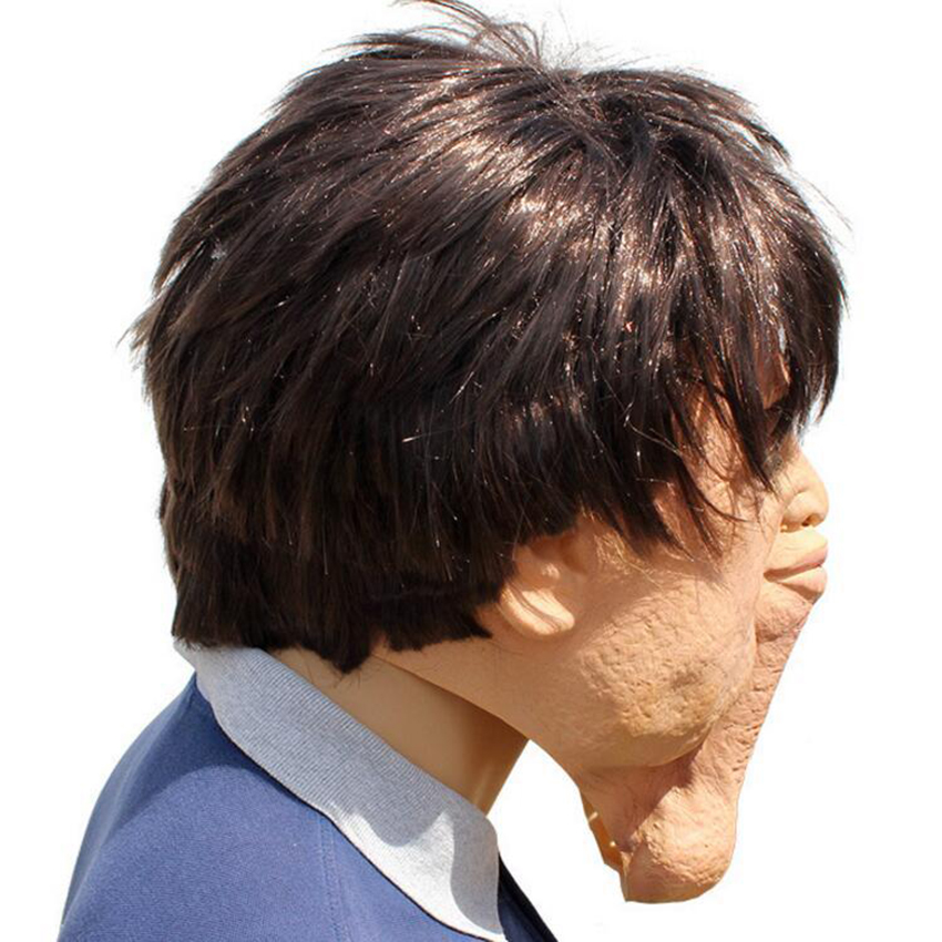 Halloween Latex Scary Fat Man Mask Double Chin Headgear Prom Props Mens Party