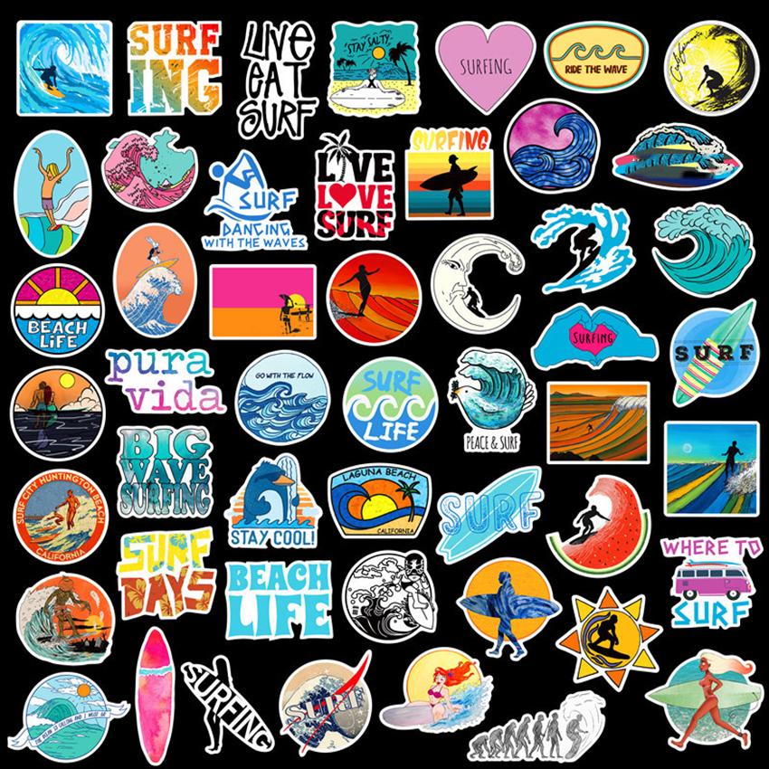 JIMITU® Sticker 50 PCS Summer Surfing Beach Travel Graffiti Surf Stickers DIY