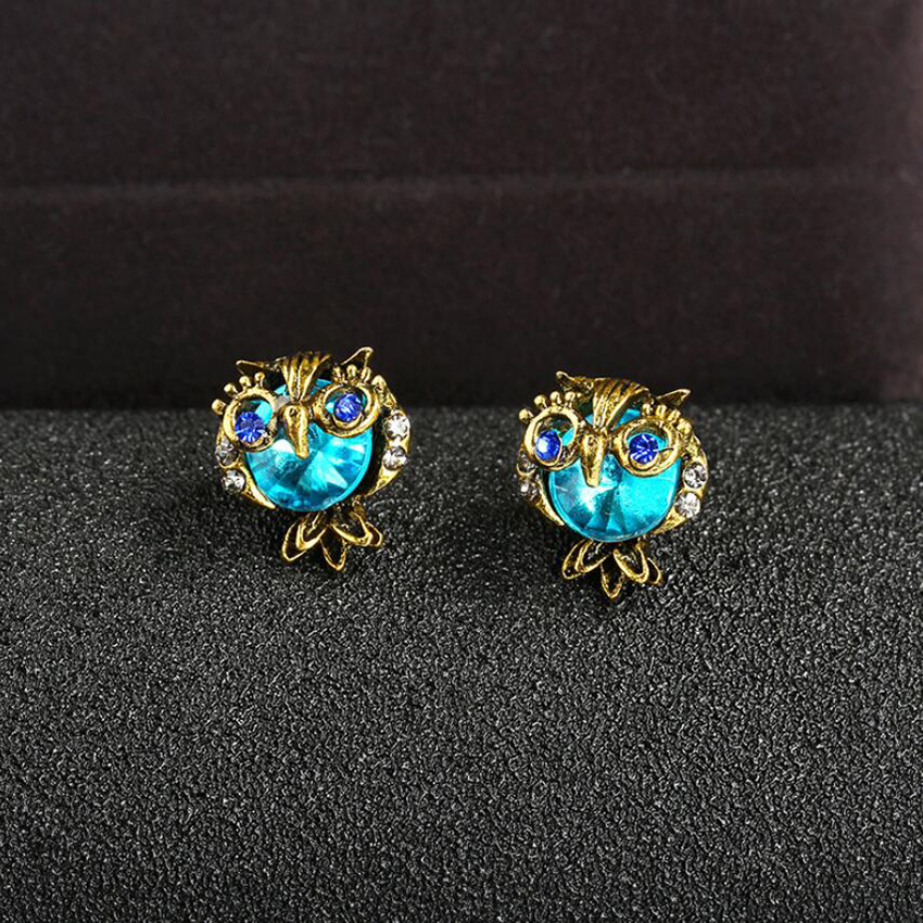 Details About New Lucky Brand Owl Stud Earrings Animal Gift Vintage Women Diamond Jewelry